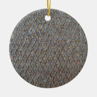 Textura de la malla metálica adorno redondo de cerámica