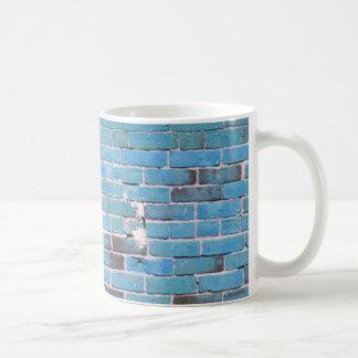 Textura de la pared de ladrillo del vintage del az taza de café