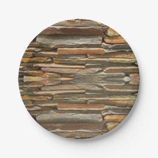 Textura de la pared de piedra plato de papel 17,78 cm