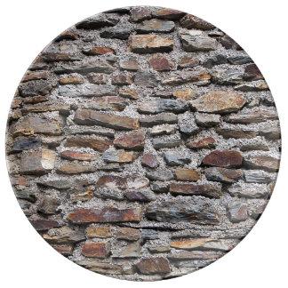 Textura de la pared de piedra plato de cerámica
