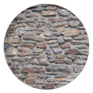 Textura de la pared de piedra plato de comida