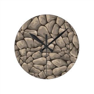 Textura de la piedra del dibujo animado reloj redondo mediano