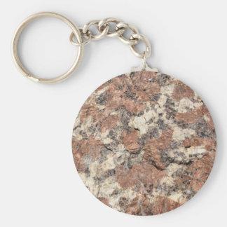 Textura de la roca del granito --- Blanco negro Llavero Redondo Tipo Pin