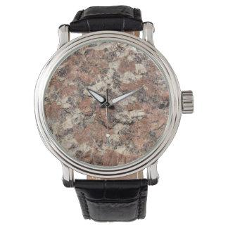 Textura de la roca del granito --- Blanco negro Reloj De Mano