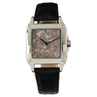 Textura de la roca del granito --- Blanco negro Relojes