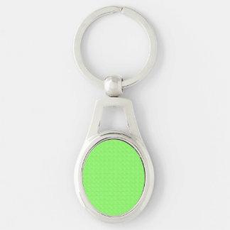 Textura de la verde lima llavero plateado ovalado