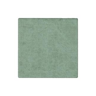 Textura de lino retra verde imán de piedra