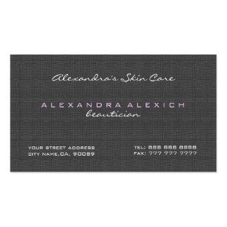 Textura de lino simple negra y blanca llana tarjeta de visita