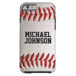 Textura de los deportes del béisbol con nombre funda para iPhone 6 tough