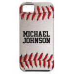 Textura de los deportes del béisbol con nombre iPhone 5 Case-Mate protectores