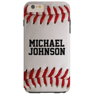 Textura de los deportes del béisbol con nombre funda de iPhone 6 plus tough