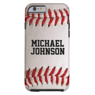 Textura de los deportes del béisbol con nombre funda de iPhone 6 tough