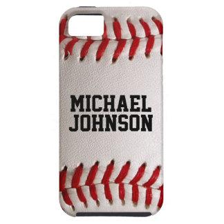 Textura de los deportes del béisbol con nombre iPhone 5 fundas
