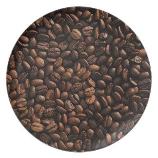 Textura de los granos de café plato