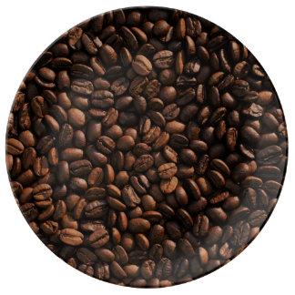 Textura de los granos de café platos de cerámica