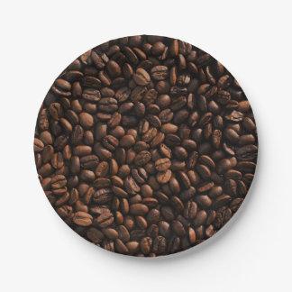 Textura de los granos de café platos de papel