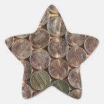 Textura de los peniques de Lincoln del americano Pegatina En Forma De Estrella