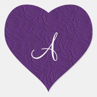 Textura de los rosas púrpuras del monograma falsa calcomanías corazones personalizadas