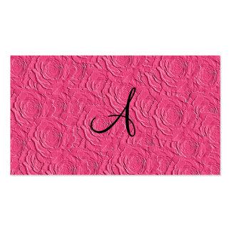 Textura de los rosas rosados del monograma falsa tarjetas de visita