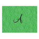 Textura de los rosas verdes claros del monograma postal