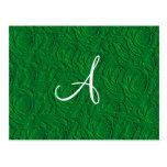 Textura de los rosas verdes del monograma falsa tarjeta postal