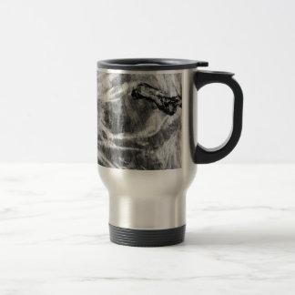 Textura de madera blanco y negro taza de viaje de acero inoxidable