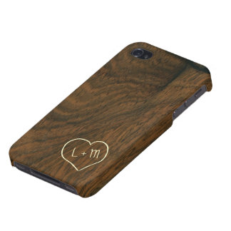 Textura de madera de caoba envejecida personalizad iPhone 4 cárcasas