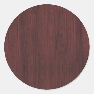 Textura de madera de caoba pegatina redonda