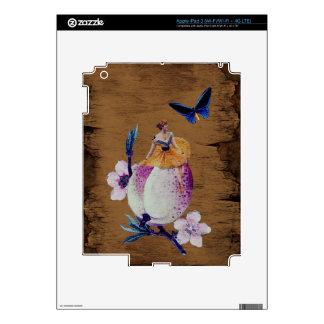 Textura de madera de la flor de la mujer del iPad 3 pegatina skin