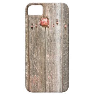 Textura de madera del ferrocarril y pernos rojos iPhone 5 fundas