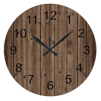 Textura de madera hermosa rústica de Brown Reloj Redondo Grande
