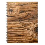 Textura de madera libro de apuntes con espiral