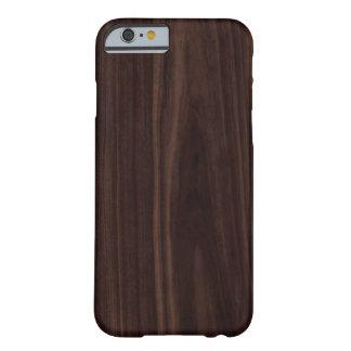 Textura de madera oscura de caoba del grano del funda para iPhone 6 barely there
