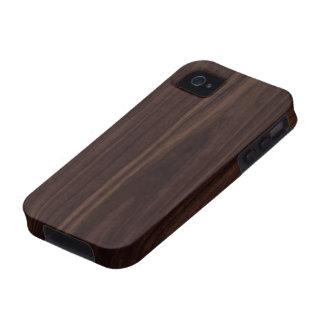 Textura de madera oscura de caoba del grano del iPhone 4 fundas