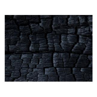Textura de madera quemada postales