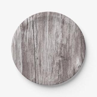Textura de madera resistida rústica plato de papel de 7 pulgadas
