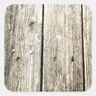 Textura de madera resistida sepia de la cerca pegatina cuadrada