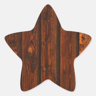 Textura de madera roja de la pared calcomanía forma de estrellae