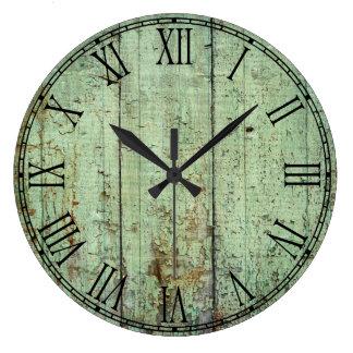 Textura de madera rústica reloj redondo grande