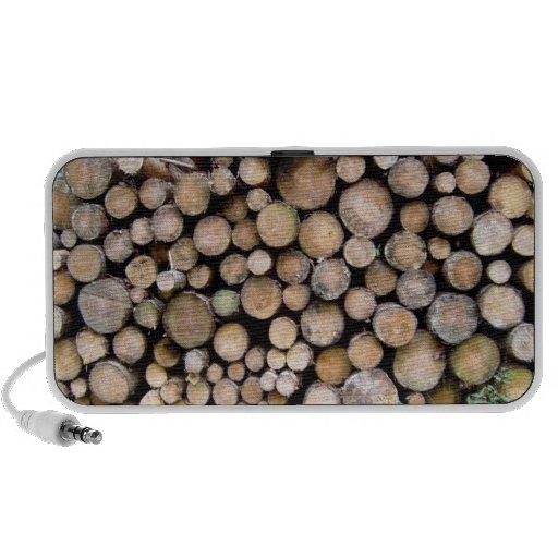 Textura de madera tajada portátil altavoces