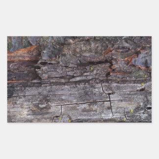 Textura de madera torturada rectangular pegatina
