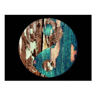 Textura de madera Yin Yang Postcarde Tarjetas Postales