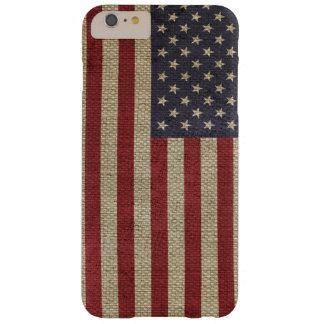 Textura de moda fresca de la arpillera de la funda de iPhone 6 plus barely there