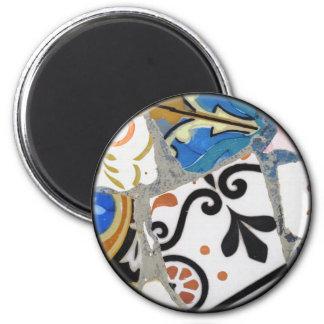 Textura de mosaico de Gaudi Imán Redondo 5 Cm