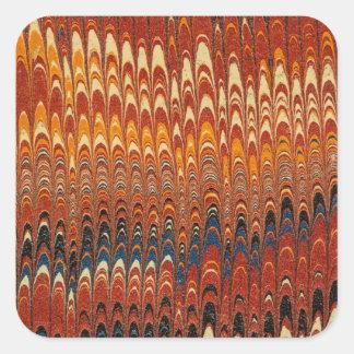 Textura de papel anaranjada roja veteada del fondo pegatina cuadrada