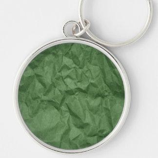 Textura de papel arrugada arrugada - verde llavero redondo plateado