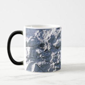 Textura de piedra áspera, ladrillo blanco taza de café