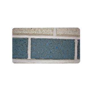 Textura de piedra blanca azul de la pared de ladri etiqueta de dirección