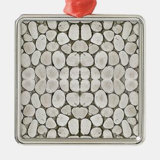 Textura de piedra de la pared del modelo adorno cuadrado plateado