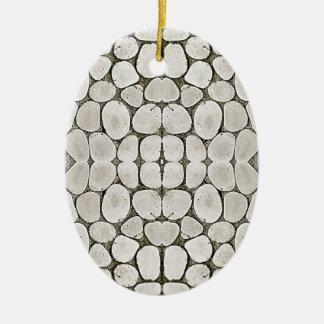 Textura de piedra de la pared del modelo adorno ovalado de cerámica